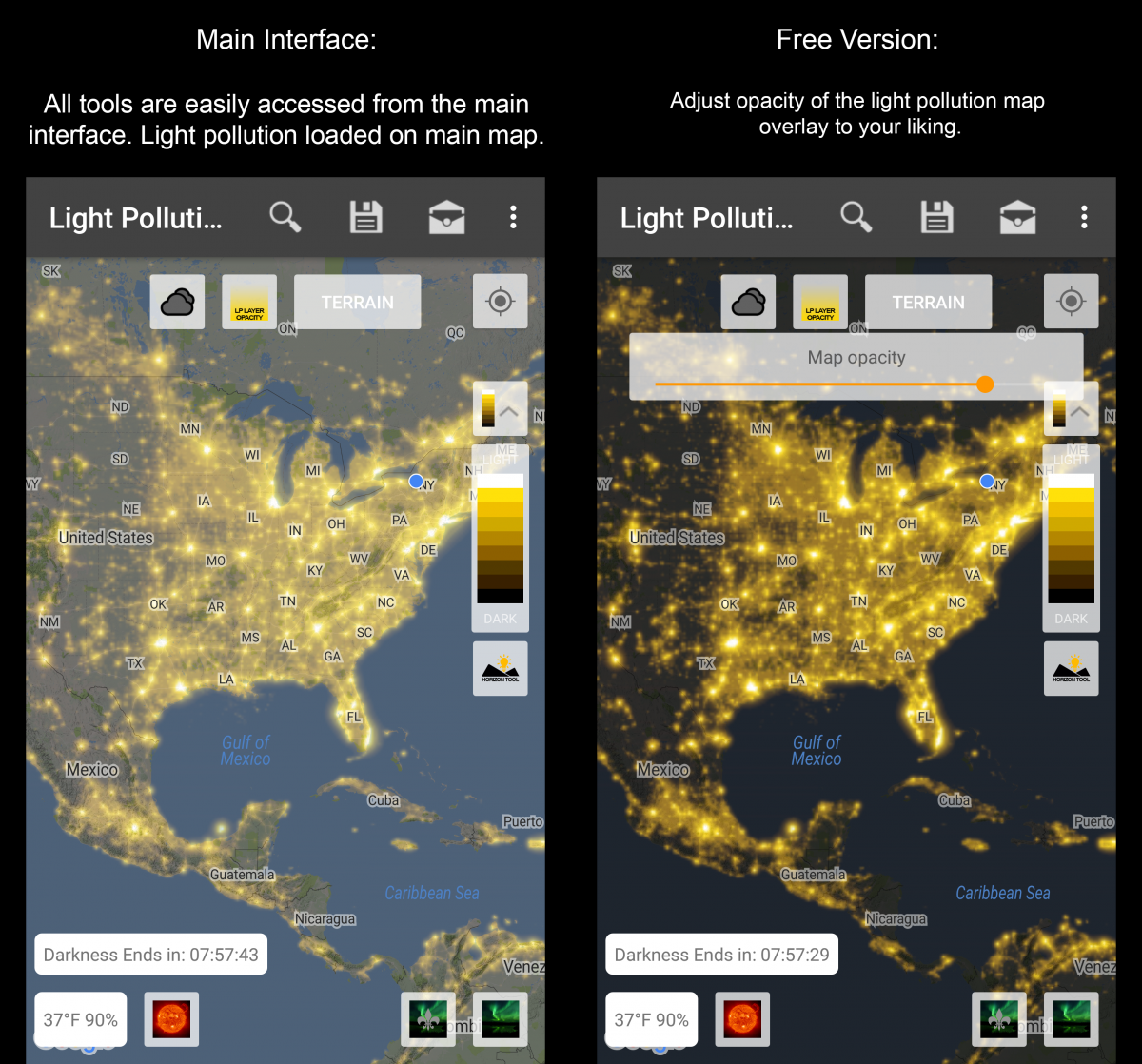 Light Pollution Map - Map of light pollution us