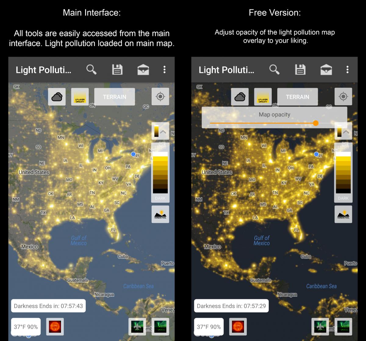 Light Pollution Map - Us light pollution map